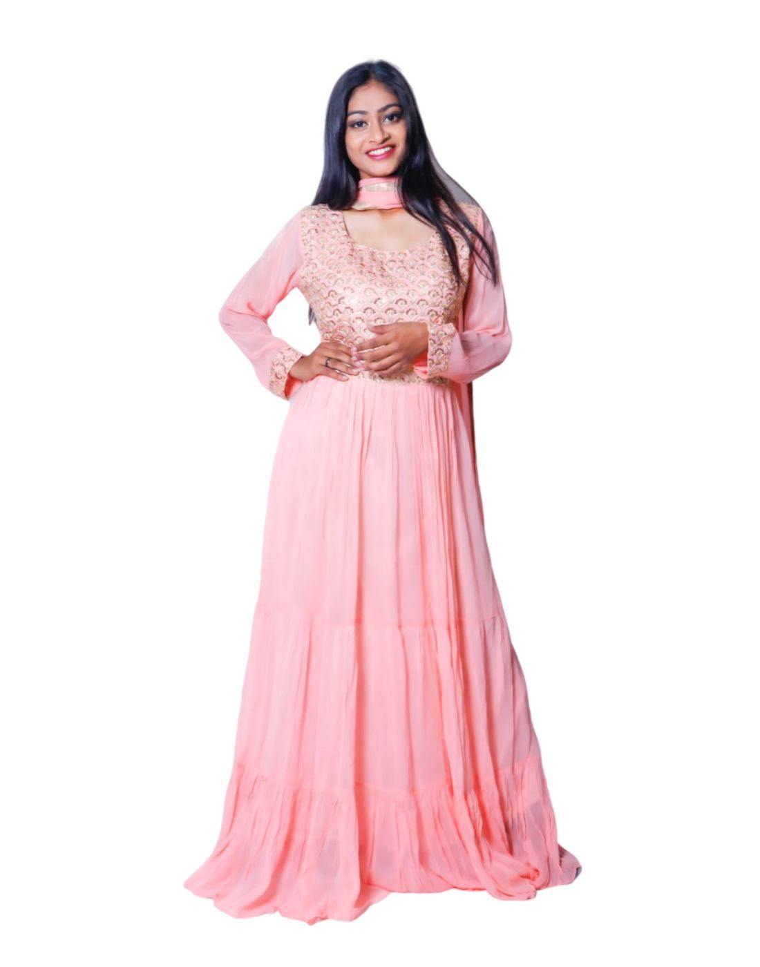Rent Baby Pink Embroidered Anarkali-Women-Glamourental