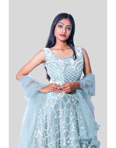 Rent Heavy Light Blue Motif Embroidered Lehenga Choli-Women-Glamourental
