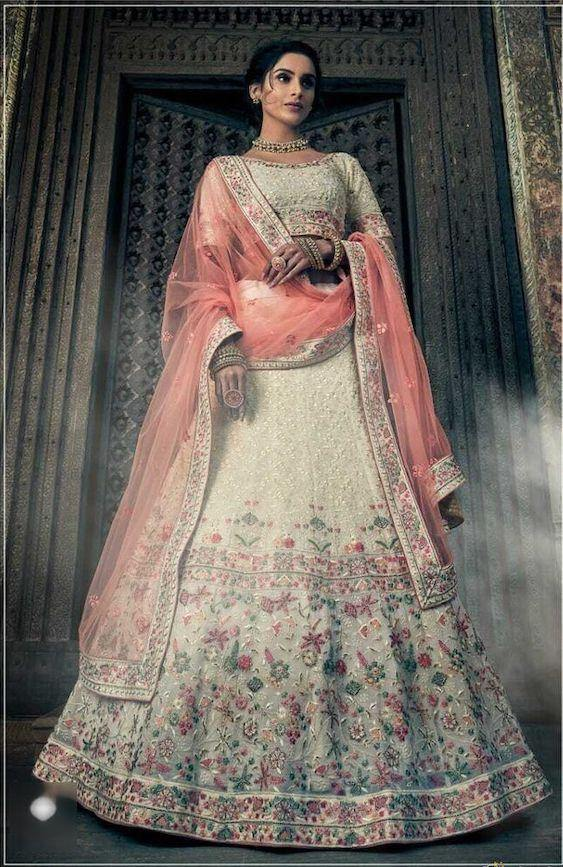 Rent Off White Georgette Embroidered Heavy Lehenga Choli-Women-Glamourental