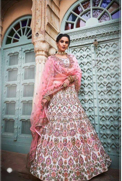 Rent Off White Georgette Heavy Embroidered Lehenga Choli-Women-Glamourental