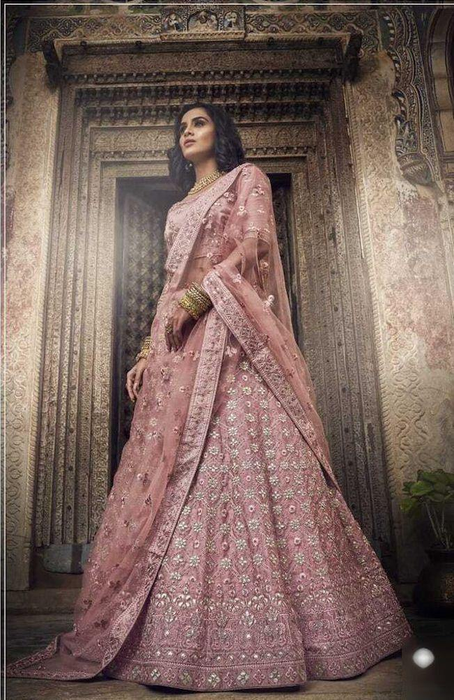 Rent Salmon Pink Heavy Embroidery Lehenga Choli-Women-Glamourental