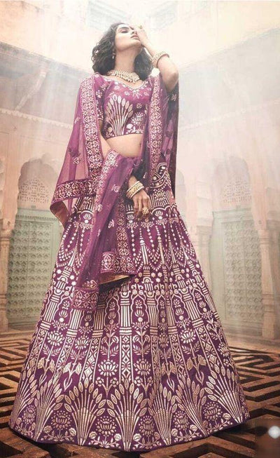 Rent Wine Embroidered Heavy Lehenga Choli-Women-Glamourental