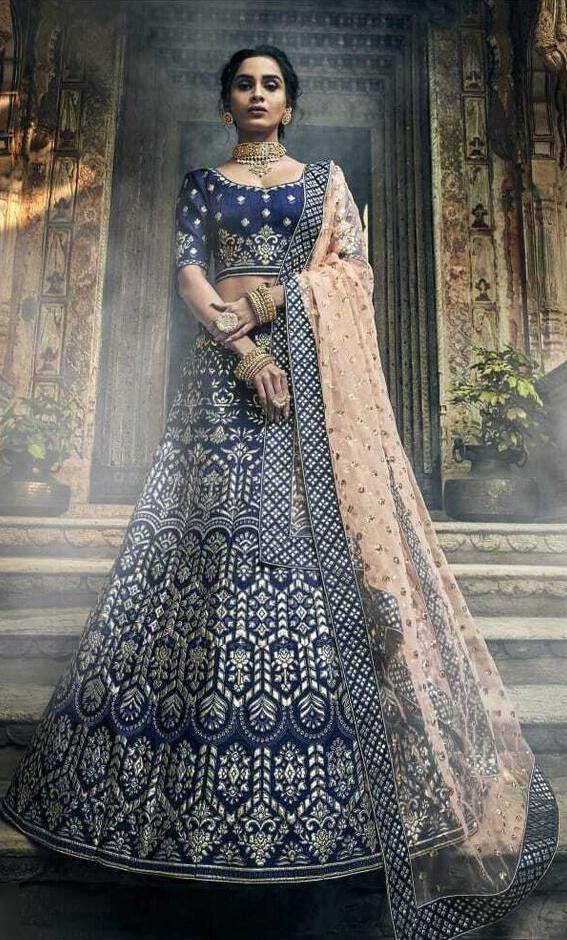Rent Navy Blue Embroidered Heavy Lehenga Choli-Women-Glamourental