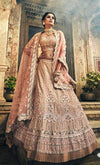 Rent Rose Taupe Georgette Heavy Lehenga Choli-Women-Glamourental