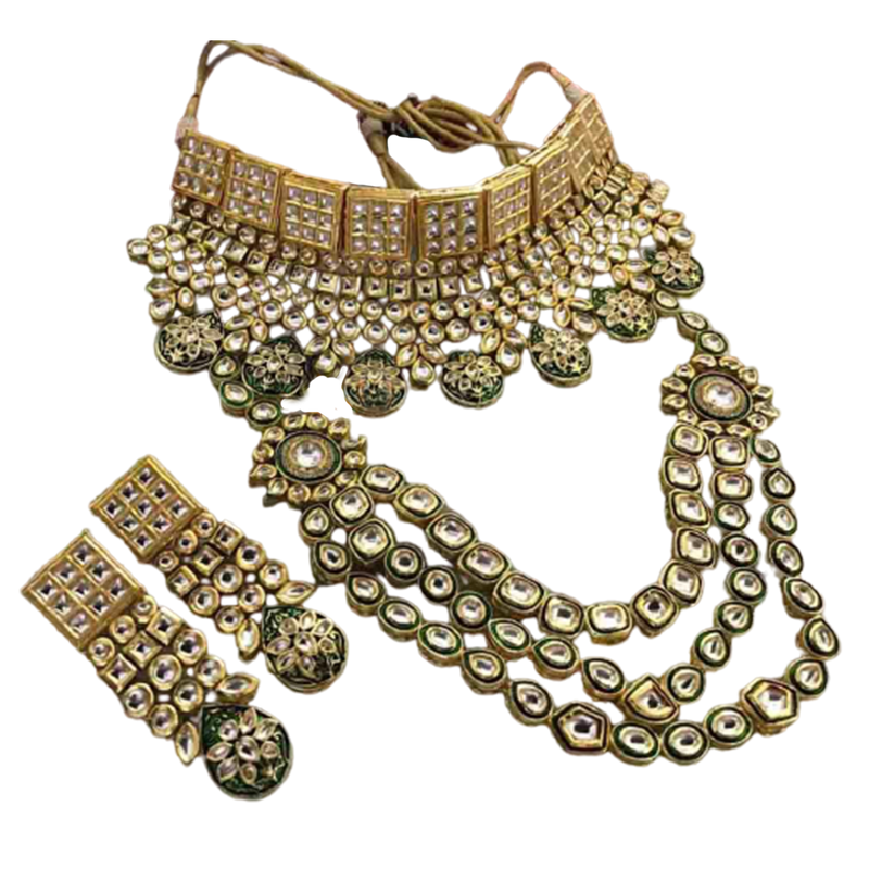 Floral style with kundan work chain necklace set