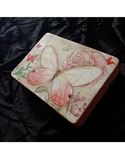 Butterfly Hand Painted Wooden Clutch Bag