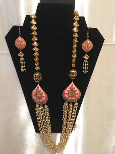 Pink and Ivory Motifs Long Necklace
