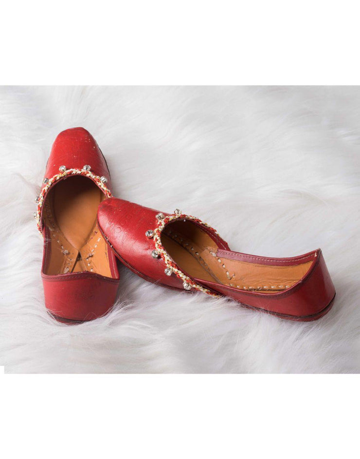 Red Brown Leather Jutti With Diamond Work-Women-Glamourental