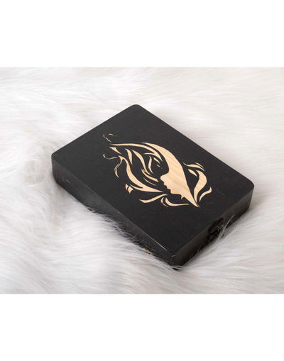 Black Lady Face Wooden Clutch Bag-Clutch-Glamourental