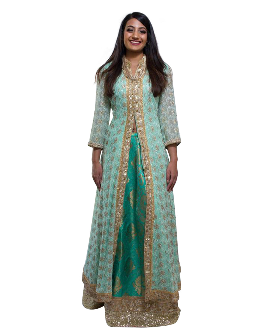 Rent Light Pista Green Jacket With Lehenga-Women-Glamourental