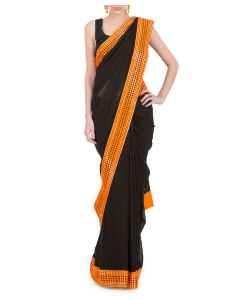 Rent Black Georgette Saree-Women-Glamourental