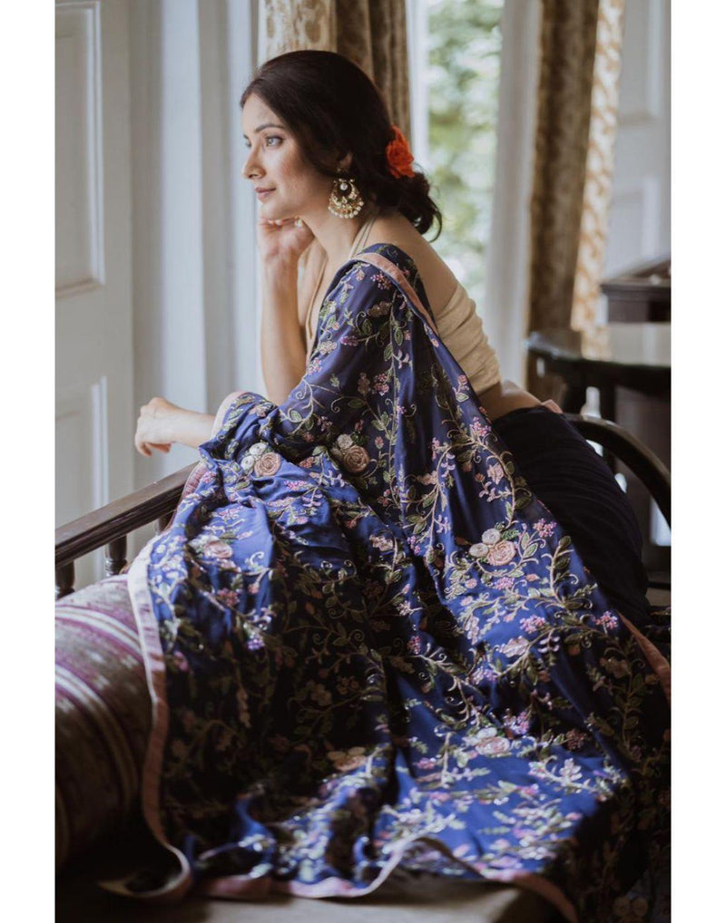 Rent Blue Organza Saree-Women-Glamourental