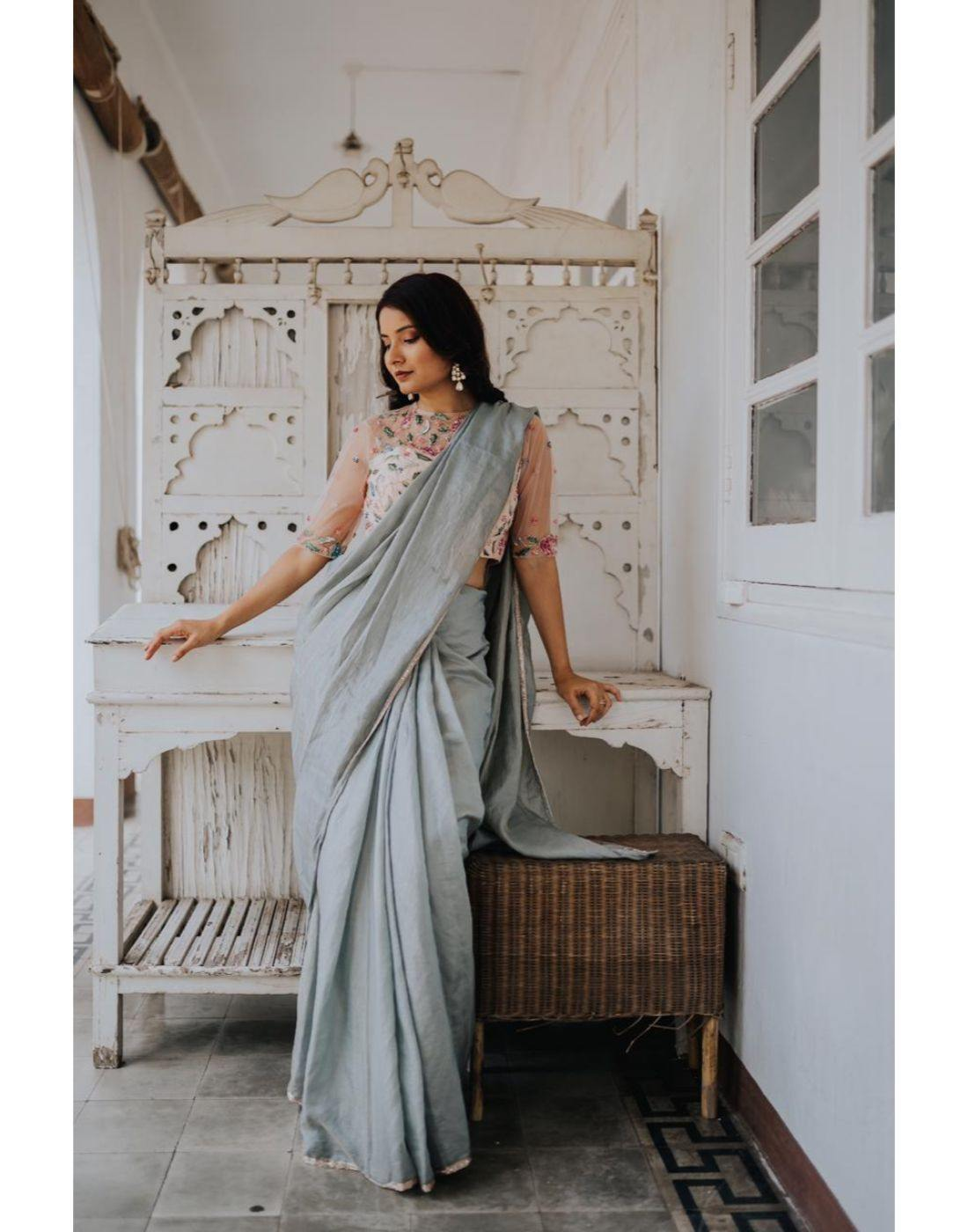 Rent Grey Tissue Chanderi Saree-Women-Glamourental