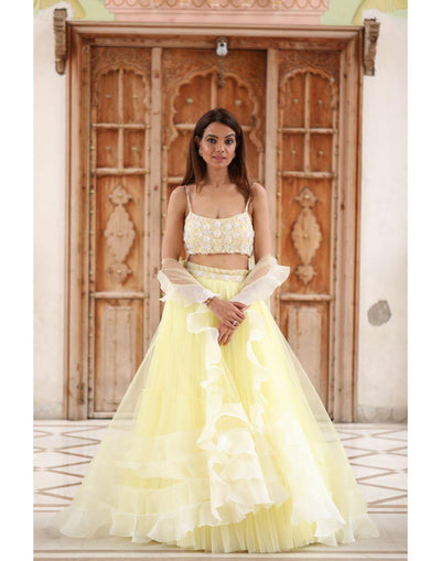 Powder Yellow 2 Layered Tulle Skirt And Embroidered Top and With Jacket-Women-Glamourental