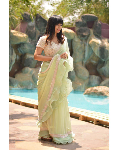 Mint Green Saree With Ivory Sheer Blouse-Women-Glamourental