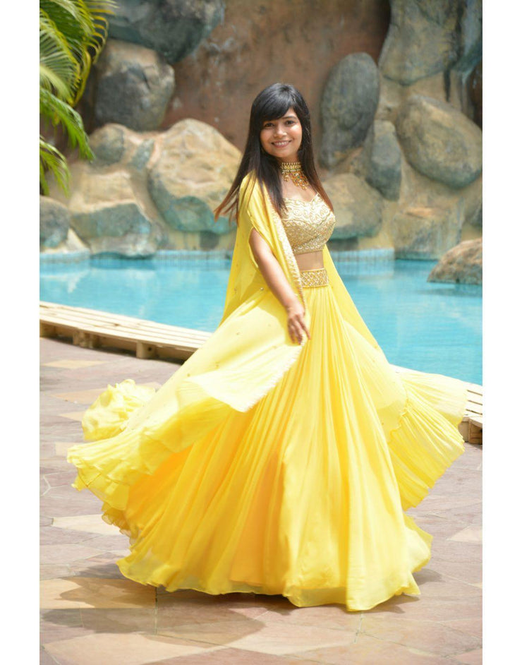Rent Bright Yellow Set With Cape-Women-Glamourental