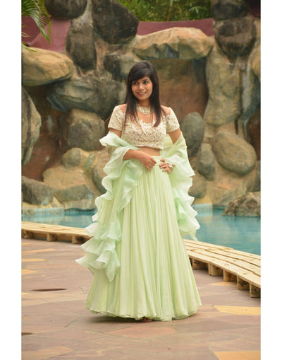 Mint Green Skirt Top With Ruffled Dupatta-Women-Glamourental