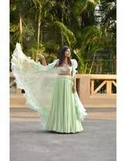 Rent Mint Green Skirt Top With Ruffled Cape-Women-Glamourental