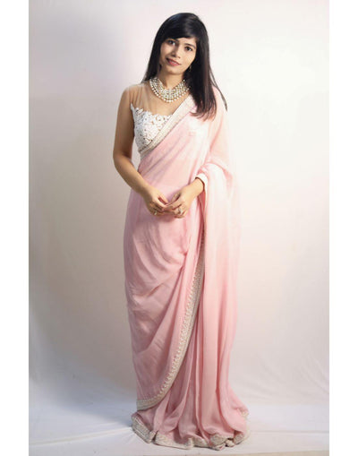 Powder Pink Saree With Sheer Crop Top-Women-Glamourental