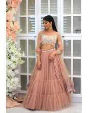 Rent Blush Pink Skirt With Selfcolor Multi Pastel Top And Dupatta.-Women-Glamourental