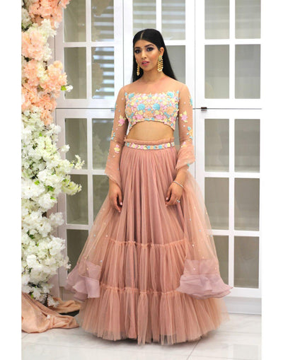 Blush Pink Skirt With Selfcolor Multi Pastel Top And Dupatta.