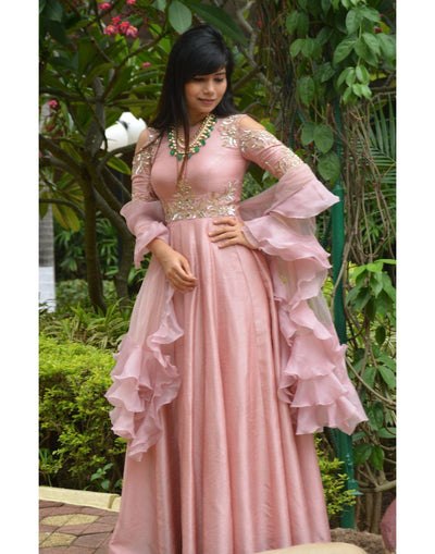 Rent Baby Pink Dress With Dupatta-Women-Glamourental