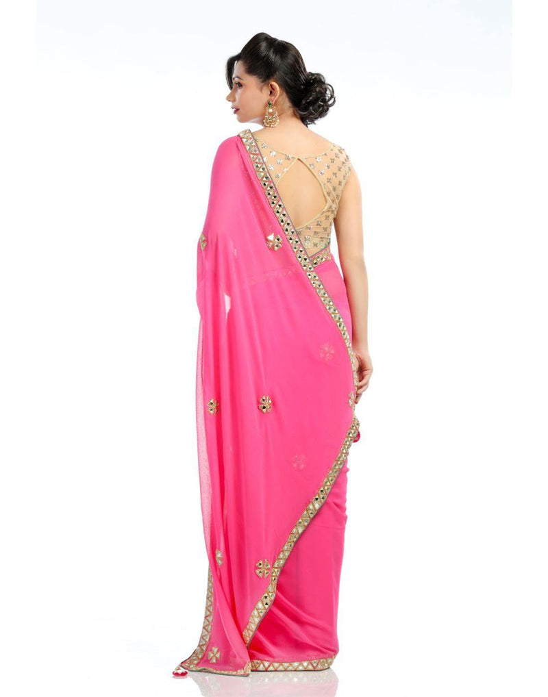 Rent Pink Georgette Saree-Women-Glamourental