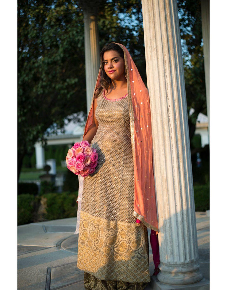 Rent Light Brown With Pink Combination Kurta With Sharara-Women-Glamourental