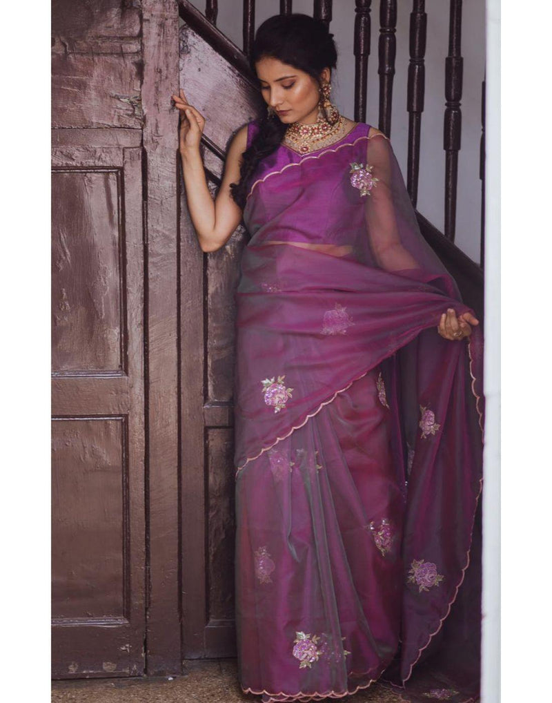 Rent Purple Organza Saree-Women-Glamourental