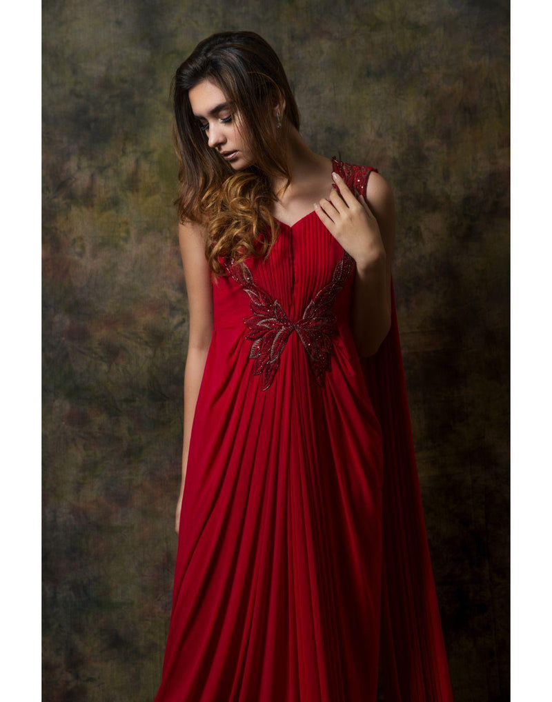 Rent Pleated Yok Gown-Women-Glamourental