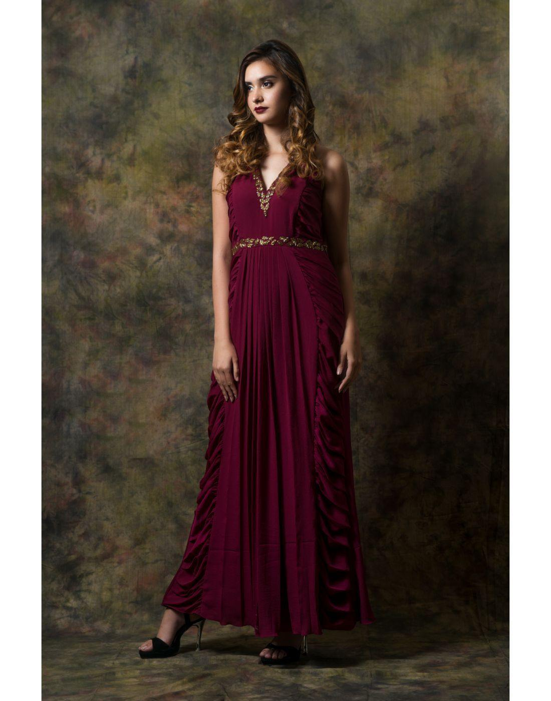 Rent Ruffle Panelled Gown-Women-Glamourental