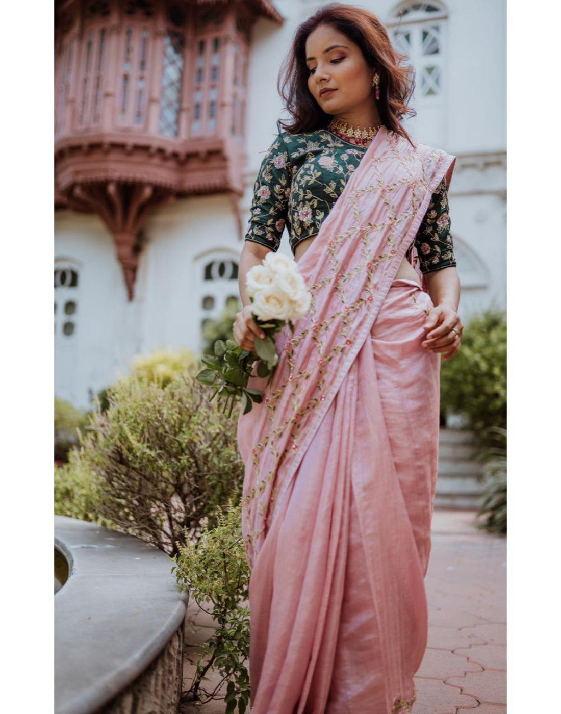 Rent Pink Tissue Chanderi Saree-Women-Glamourental