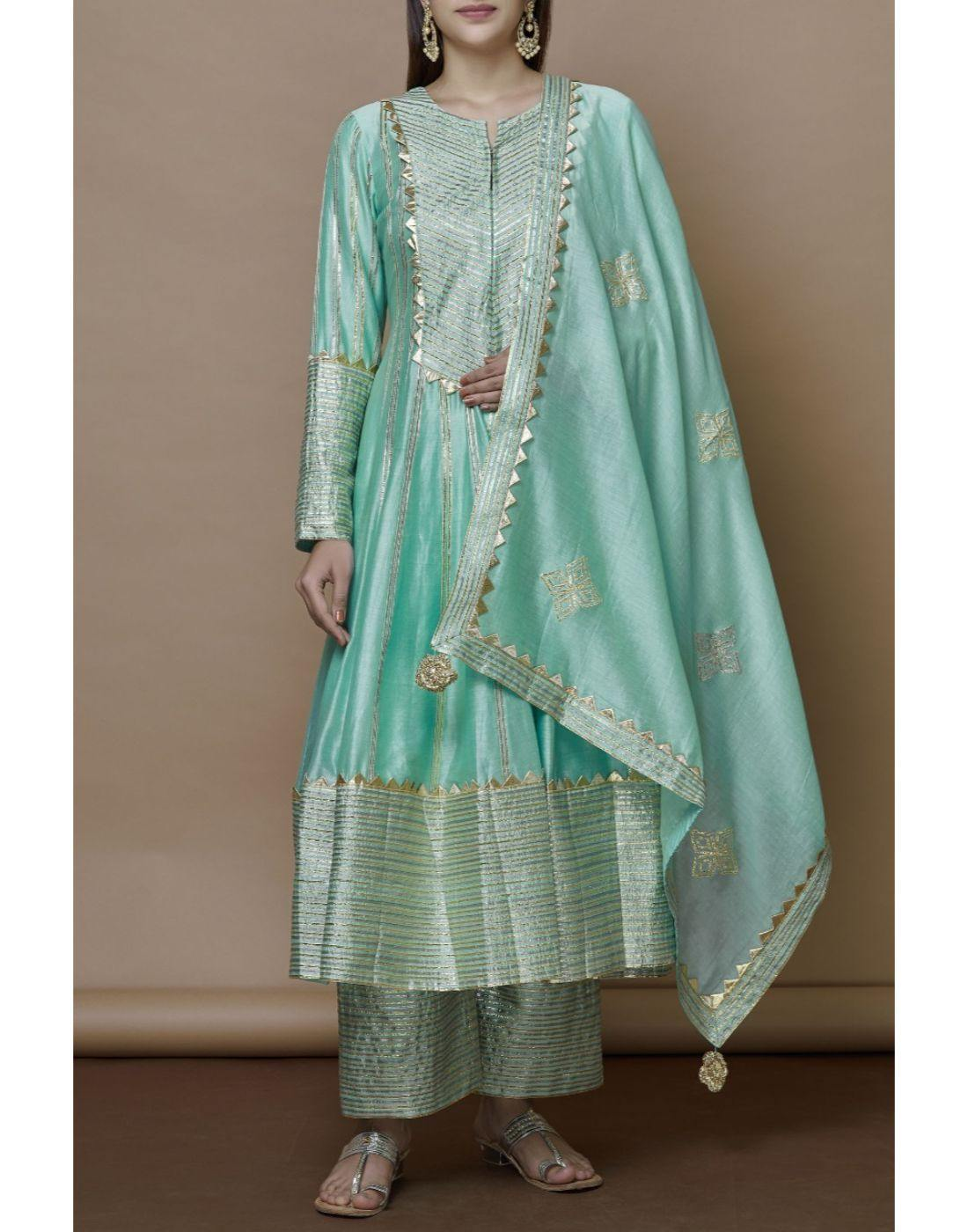 Rent Turquoise Blue Color Full Ebroidered Kurta Sharara With Dupatta-Women-Glamourental