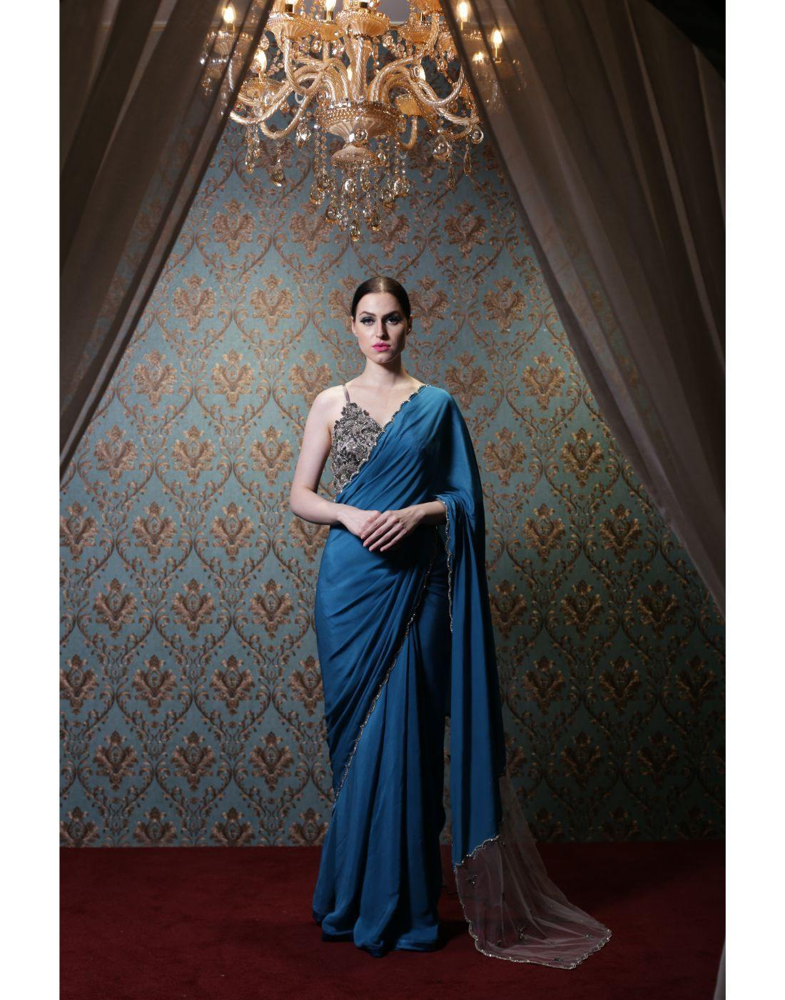 Rent Blue Scalopped Saree With A Steal Grey Blouse-Women-Glamourental