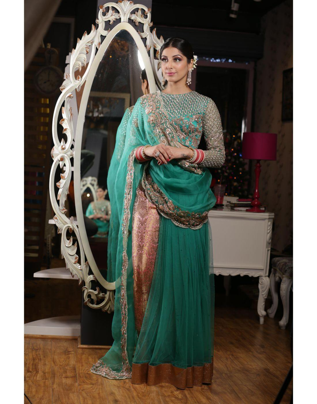 Rent Green Saree With Rose Gold Handwork Paired With Pant-Women-Glamourental