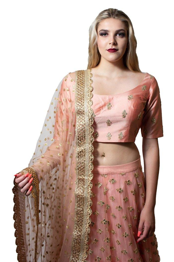 Rent Pink Silk and Net Lehenga Choli-Women-Glamourental