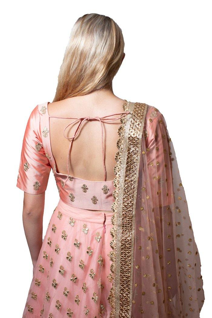 Baby Pink Silk and Net Lehenga Choli