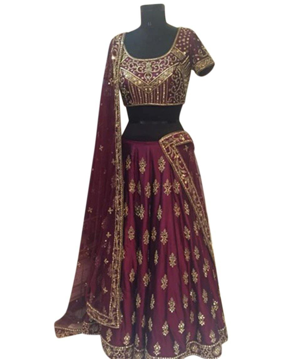 Rent Burgandy Heavy Embroidered Bridal Lehenga Choli-Women-Glamourental
