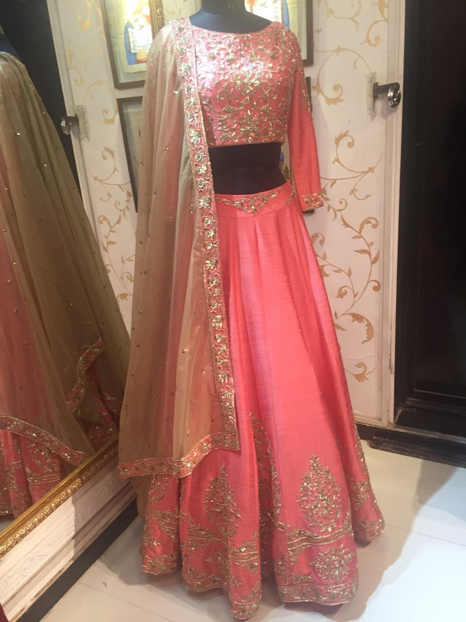 Rent Coral Raw Silk Lehenga Choli-Women-Glamourental