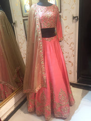 Coral Raw Silk Lehenga Choli