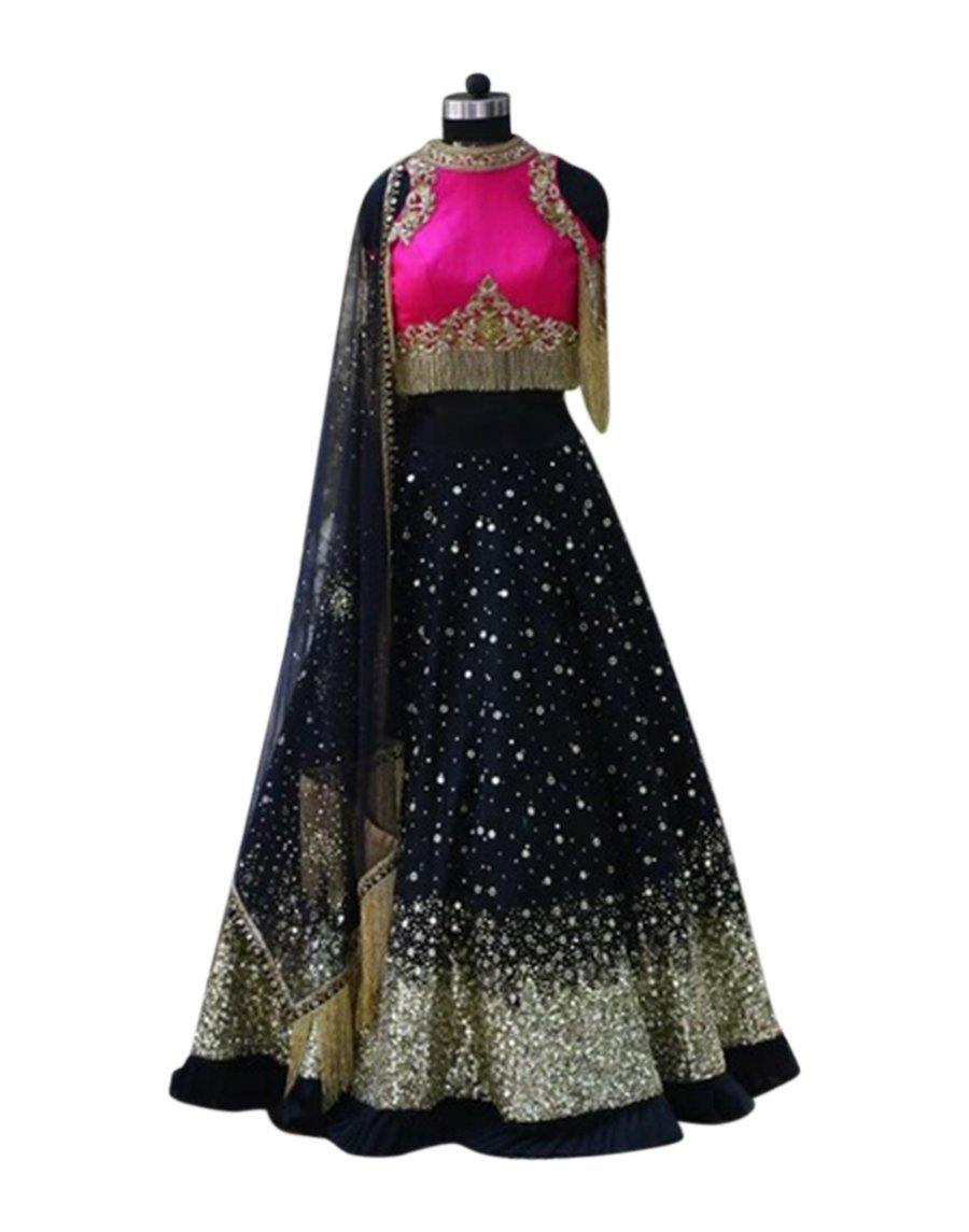 Rent Dark Pink And Black Lehenga Set With Tessels - Rent-Women-Glamourental