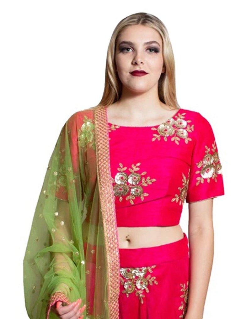 Rent Dark Pink And Mint Green Lehenga Choli-Women-Glamourental