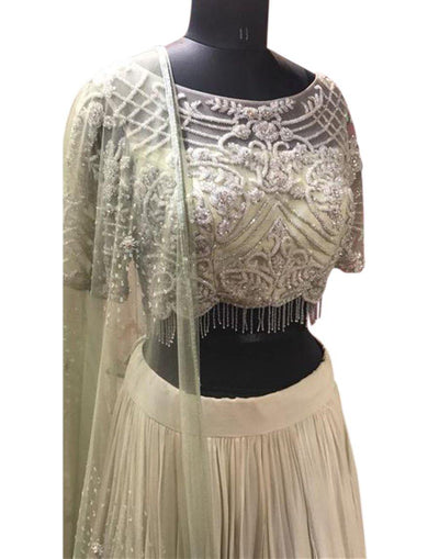 Rent Light Green And Off White Double Shaded Lehenga-Women-Glamourental