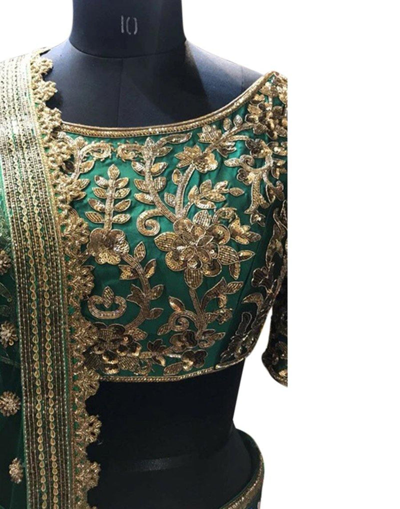 Rent Dark Green Bridal Lehenga Choli-Rent-Women-Glamourental