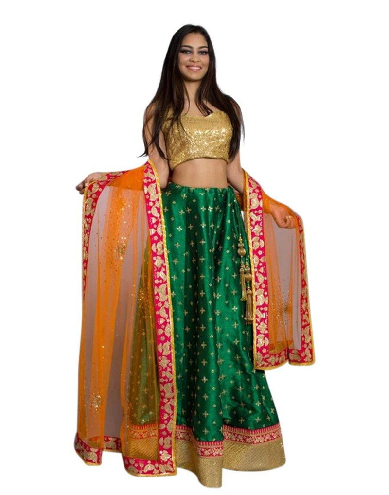 Rent Dark Green Lehenga - Green & Orange Color Lehenga Choli - GlamouRental-Women-Glamourental