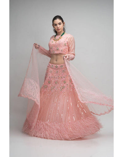 Rent Baby Pink Embellished Lehenga Choli With Feathers-Women-Glamourental