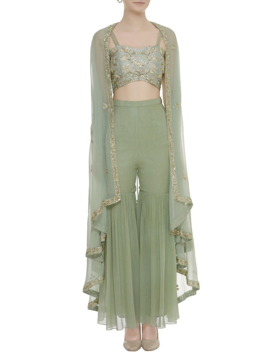 Rent Pista Green Embellished Cape Sharara Set-Women-Glamourental