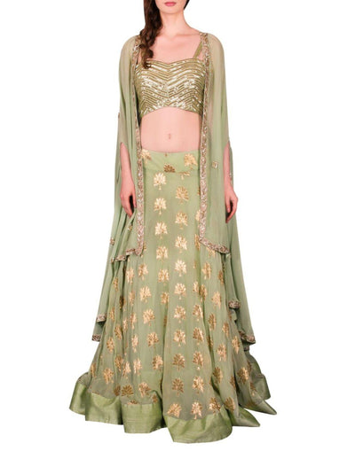 Rent Sage Green Embellished Cape Lehenga Set-Women-Glamourental