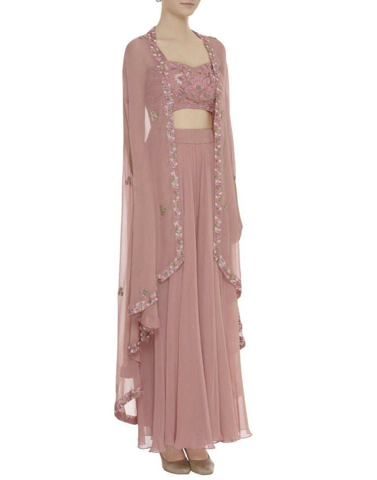 Onion Pink Embellished Cape Sharara Set