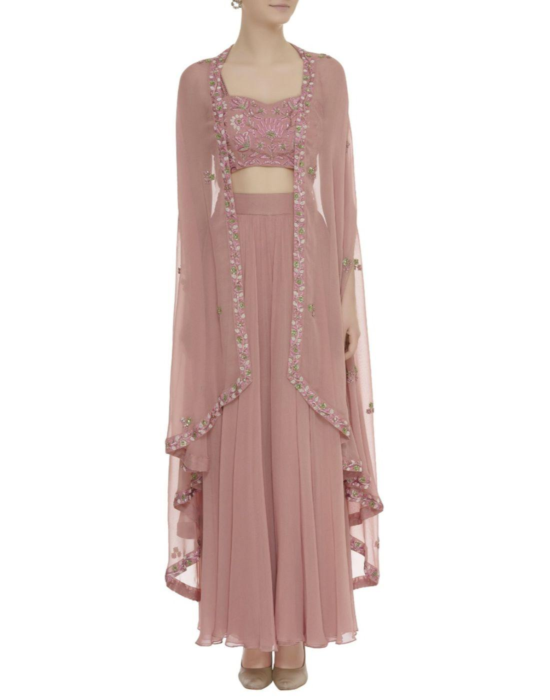 Rent Onion Pink Embellished Cape Sharara Set-Women-Glamourental